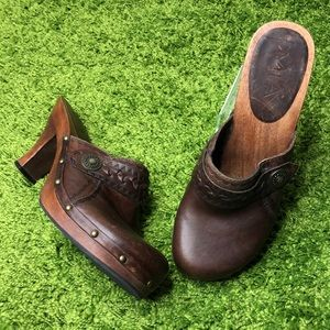 MIA Leather Studded Wooden Festival Clog Mule